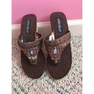 Embellished Brown Sandals Size 8